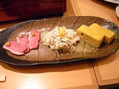 先付け(細切りうどんの白和え、出汁巻き卵、鴨の燻製)