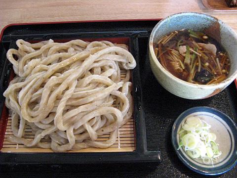 もり中600円(ごぼう入りうどん)+肉なす汁250円