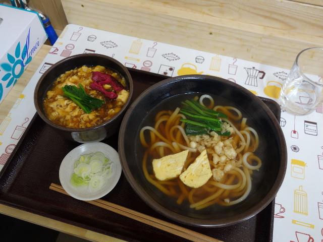 かき玉丼(小)とうどん600円