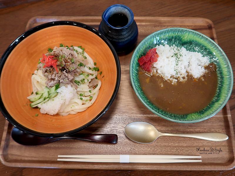 L(3玉)冷やし和牛肉うどん+ミニカレーセット1390円
