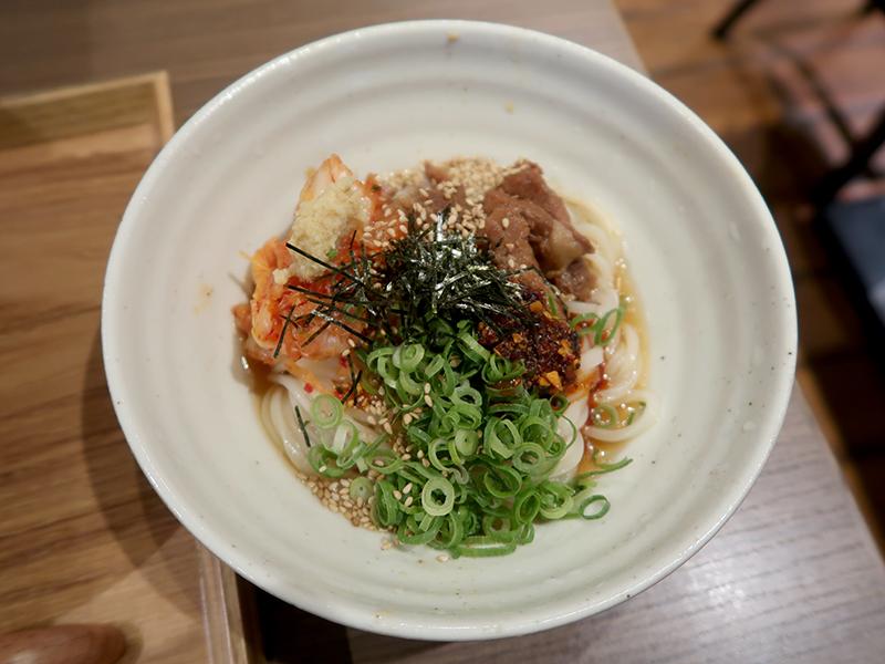 FUKUYAカツ丼と小豚キムラー油まぜうどんセット1400円(豚キムラー油うどん)